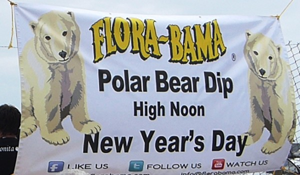 2013 flora bama polar bear dip sign